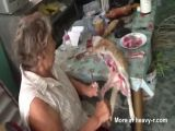 Crazy Woman Prepares Dinner From Cat