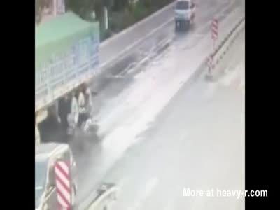 Head Explodes Under Big Truck Wheels