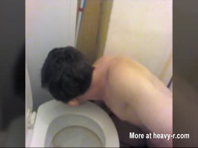 FAG slave FORCED to lick his PISS on the toilet bowl