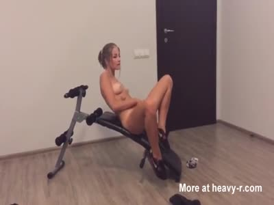 Teen Brunette Teasing In The Gym