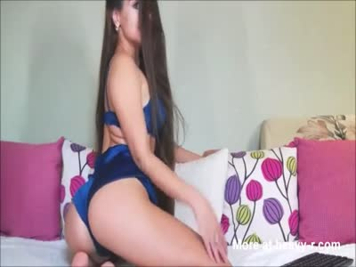 Young 18yo Teen with Long Hair falling on her Ass