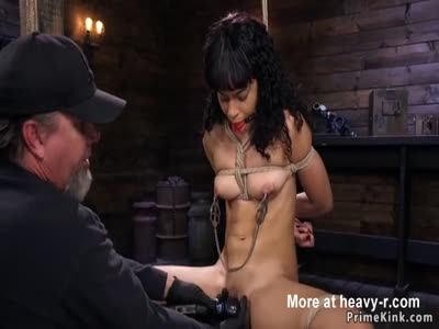 Ebony slave hogtied pussy fingered