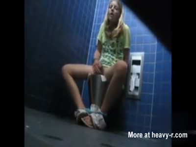 Young Girl Caught Masturbating In Public Toilet