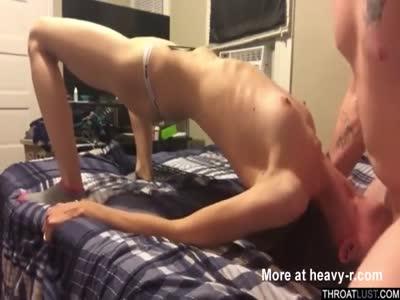 Skinny Teen Rough Throat Fucked POV