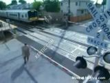 Man in a hurry gets hit by train