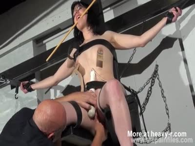 Crucified Slave Nipple Clamped