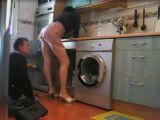 Plumber looks under skirt