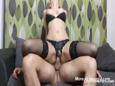 Busty Chick In Black Lingerie Squirts On Sofa