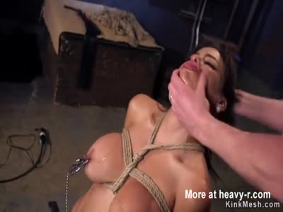 Big tits slave in group fucked