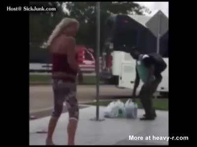 Racist Red Neck Gets Her Ass Beat