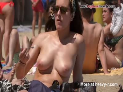 Busty Woman Sunbathing