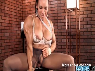 Muscled Babe Rubbing Huge Clit