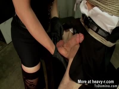 Businessman fucked by tranny in bondage