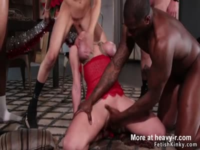 Busty Mrs Claus In Interracial Gangbang