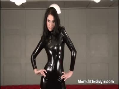 Tease In Sexy Latex Suit