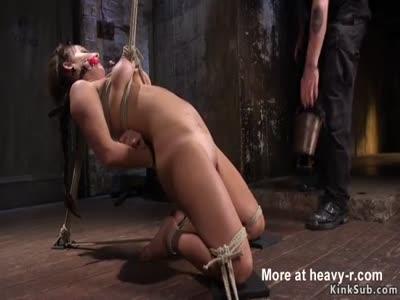 Busty hogtied suspended brunette vibed