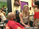 Blonde Girl Flashing Tits At Salon