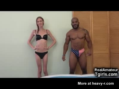 Skinny Teen Tgirl vs Muscled Black Man!