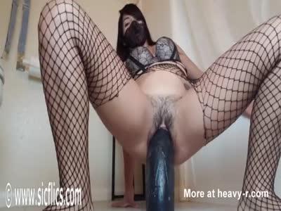 Giant Dildo Wrecks Bucket Pussy