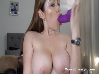 Amateur With Big Tits Sucking Dildo On Webcam