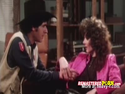 Vintage cowboy couple engage in steamy sex