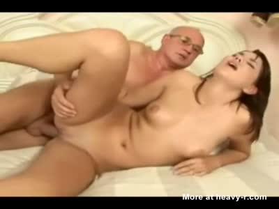 Lucky Grandpa Fucks Hot Brunette babe In Ass