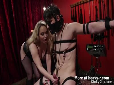 Dude In Leather Mask Gets Femdom Handjob