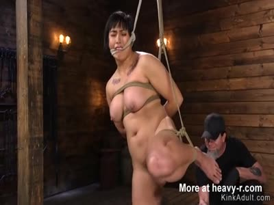 Chubby Asian Pussy Toyed In Hogtie