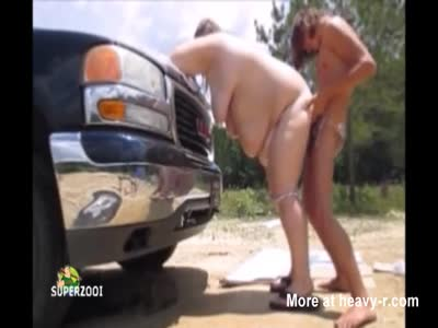 Obese Amateur Teen Pounded Outdoors