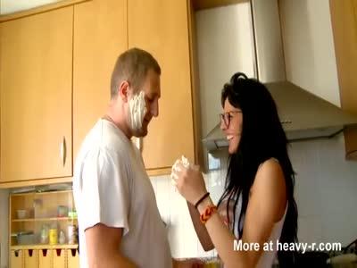 Baker fucks spanish brunette in kitchen