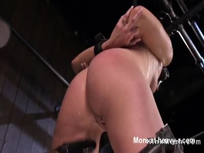 Bound blonde squirter fucked with dildo