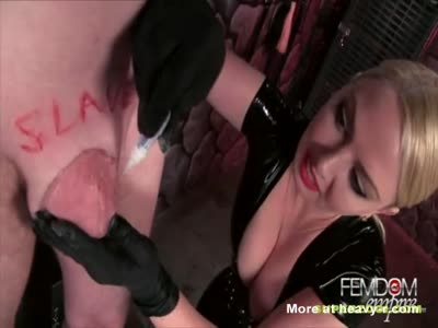 Sadistic Mistress Superglues Slave's Dick To Man Pussy
