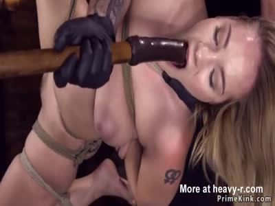Hogtied Babe Fucked With Dildo On Stick
