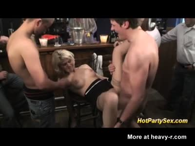 Waitress Gangbanged In Bar