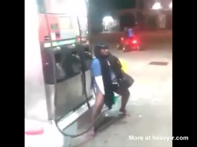 Crazy Woman Refueling Her Pussy At Gas Station