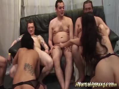 Two Chicks In Gangbang Party