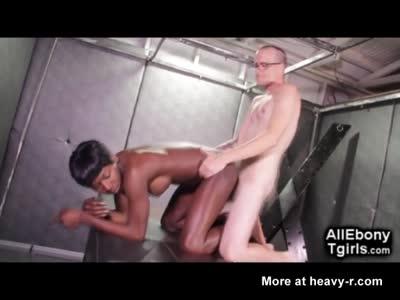 White Man Fucks African Trans!