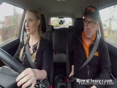Huge ass driving student fucks in car