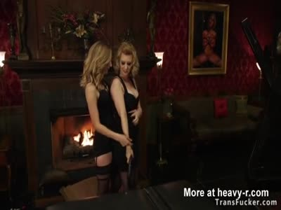 Two babes suck and fuck trannys cock