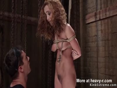 Curly brunette slave gets anal banged