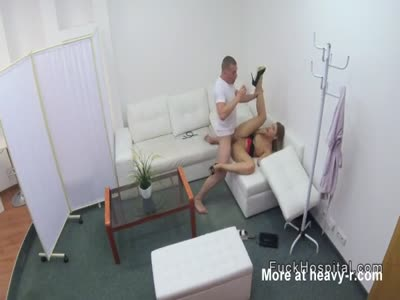 Doctor bangs blonde in office and shower