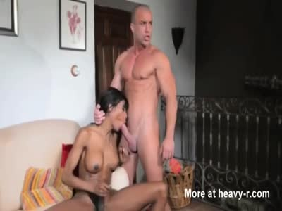 Black shemale fucked by muscular guy
