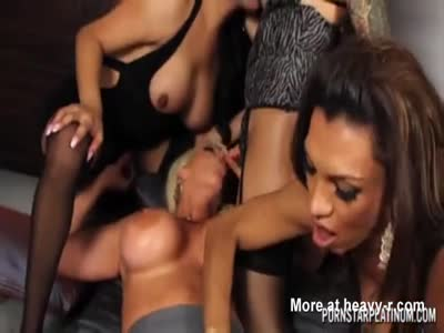 Three shemales focking big tited blonde girl