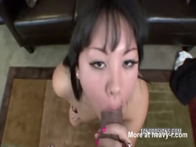 Cock Craving Asian Splattered With Cum