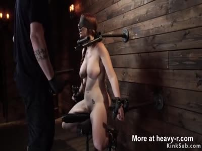 Natural busty redhead in device bondage