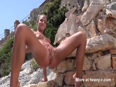Hot Teen Peeing On Beach