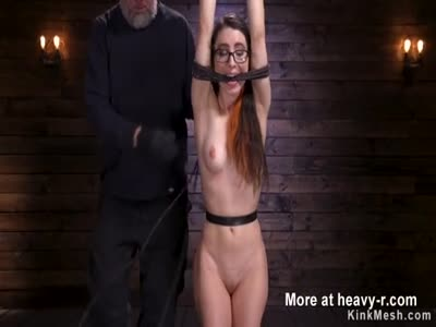 Brunette ass spanked and flogged