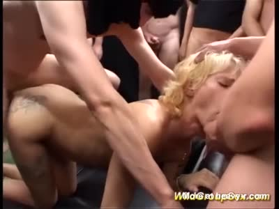Skinny Blonde Wild Gangbanged