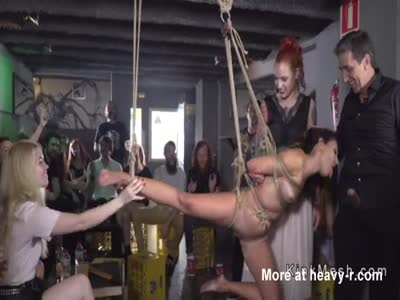 Hanged in ropes slave fucked in public