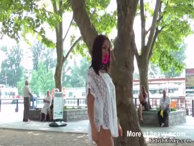 Euro babe disgraced in public bare ass